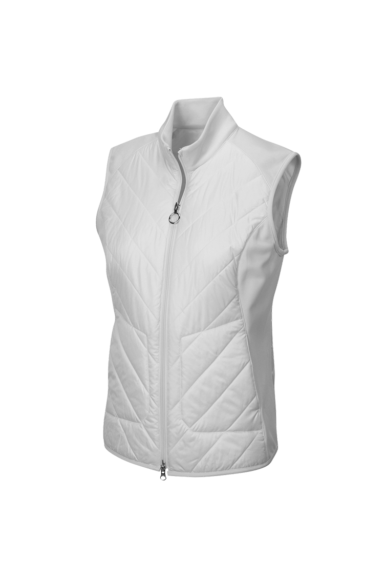 Picture of Greg Norman Chevron Quilted Cire Gilet - White