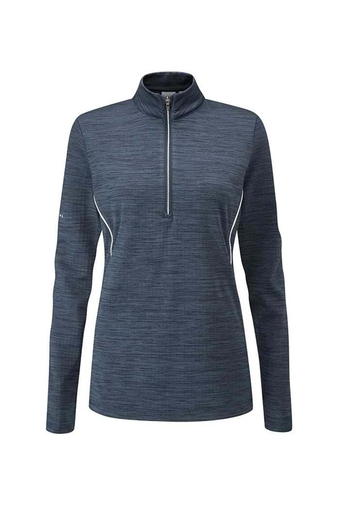 Picture of Ping Skye Half Zip Golf Top / Sweater - Oxford Blue Marl / White