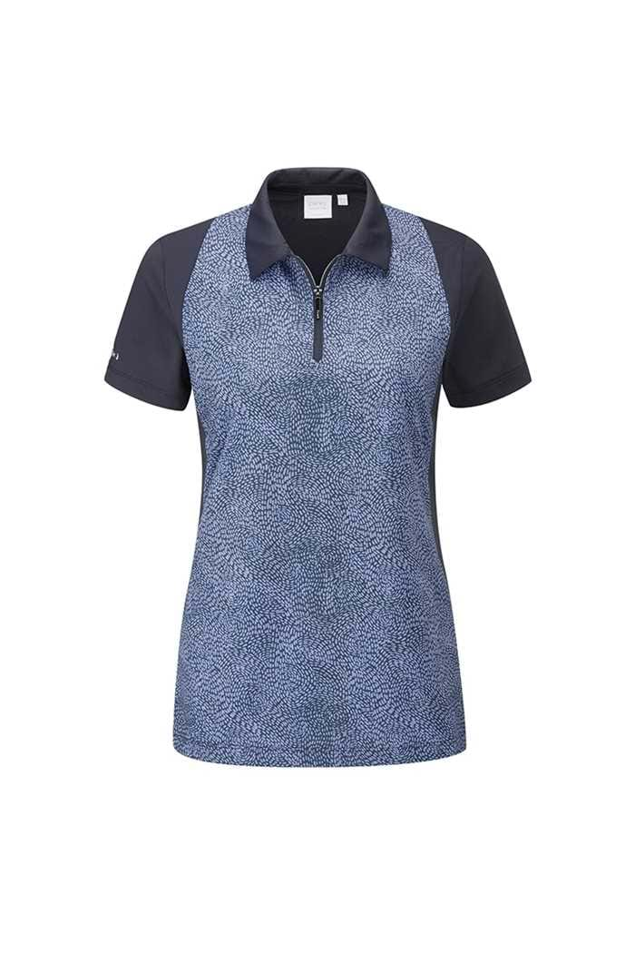 Picture of Ping Rosemarie Short Sleeve Ladies Polo Shirt - Navy / Bleached Denim