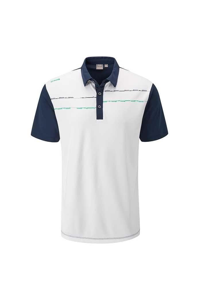 Picture of Ping Newton Men's Golf Polo Shirt - White / Oxford Blue