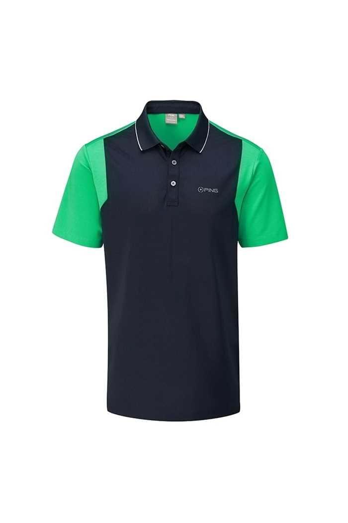 Picture of Ping Vista Men's Golf Polo Shirt - Navy / Grasshopper Green