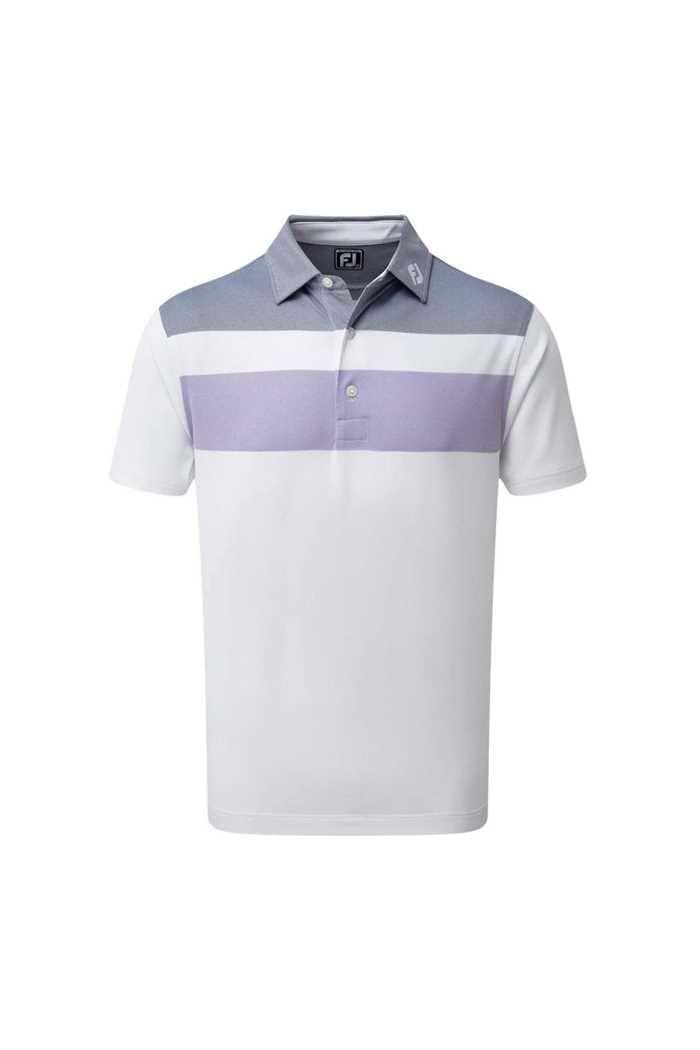 Picture of Footjoy Double Block Birdseye Pique Polo Shirt - White / Purple / Blue