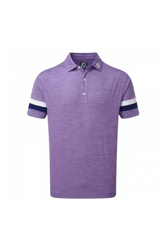 Picture of Footjoy Smooth Pique Spacedye with Sleevebands Polo Shirt - Purple / Blue / White