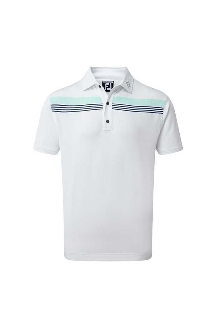 Picture of Footjoy Stretch Pique Chestband Polo Shirt - White / Mint / Blue