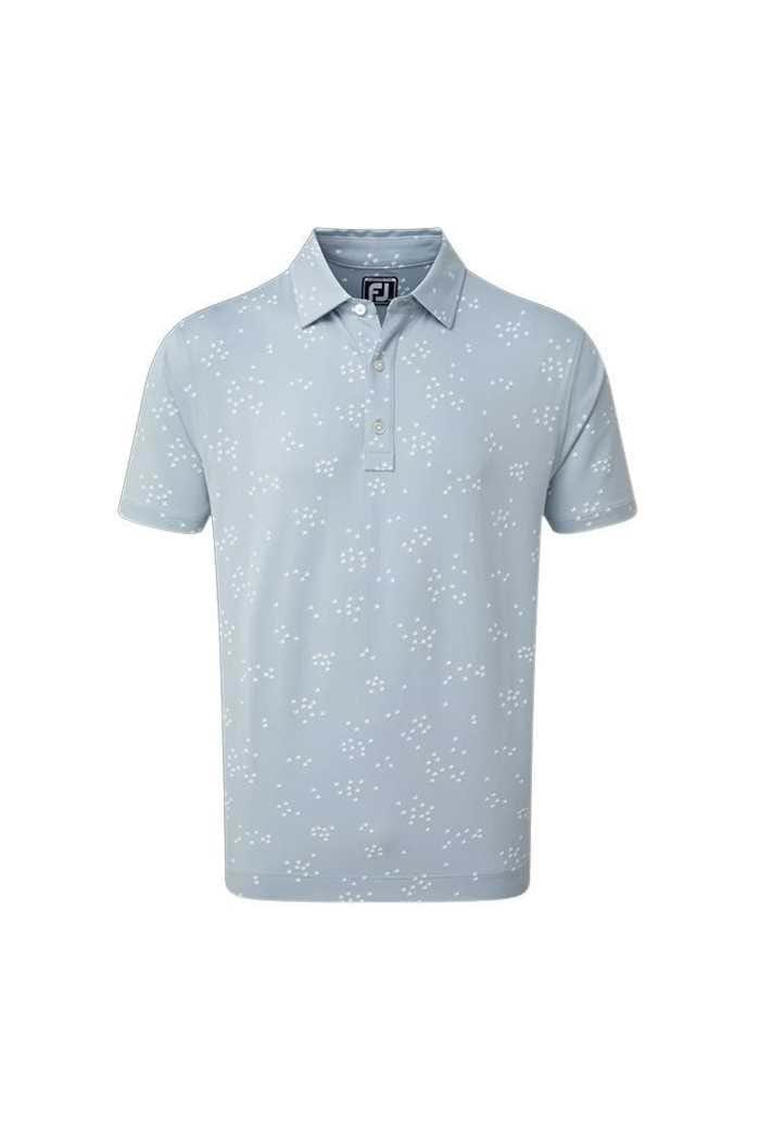 Picture of Footjoy Men's Lisle Flock of Bird Print Polo Shirt - Blue Fog / White