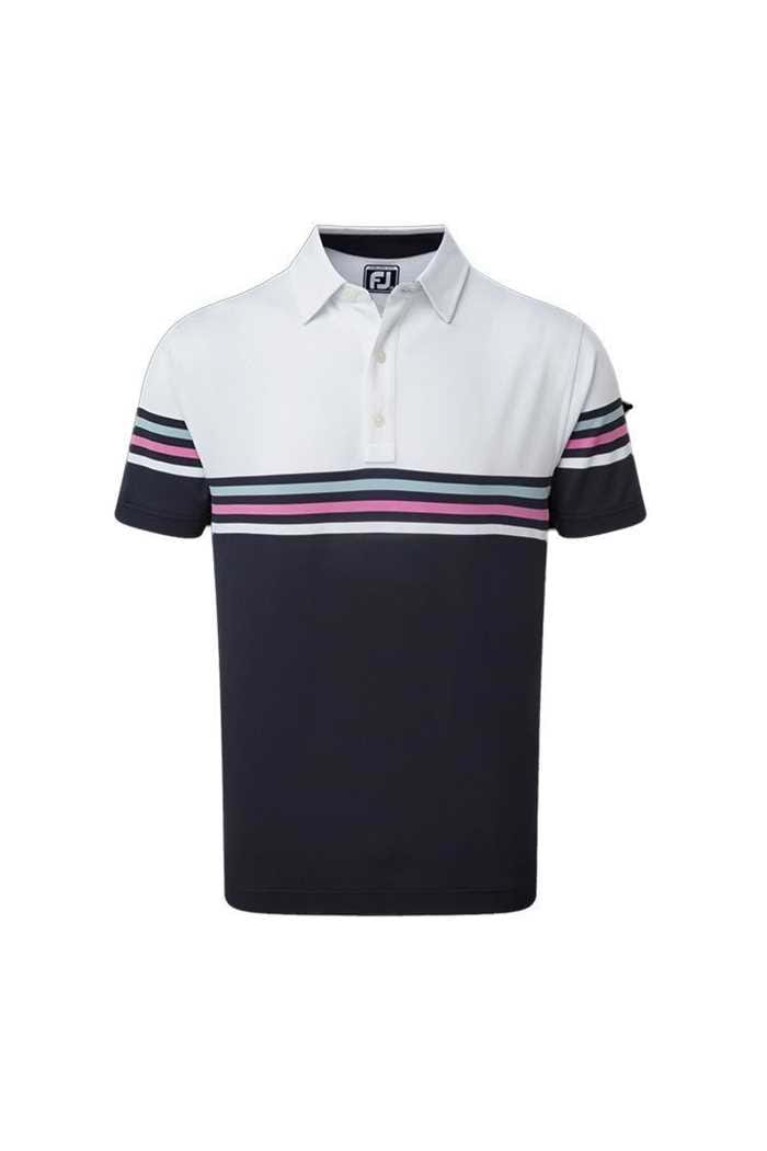 Picture of Footjoy Pique Colour Block Polo Shirt - White / Navy