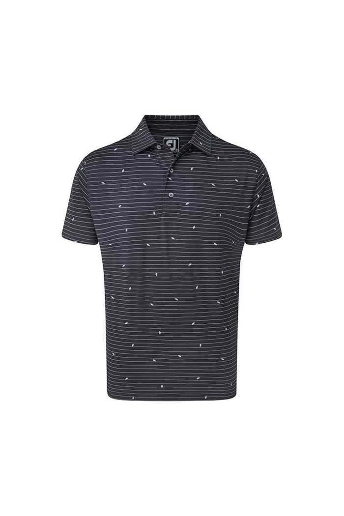Picture of Footjoy Lisle Stripe Leaf Print Polo Shirt - Navy / White