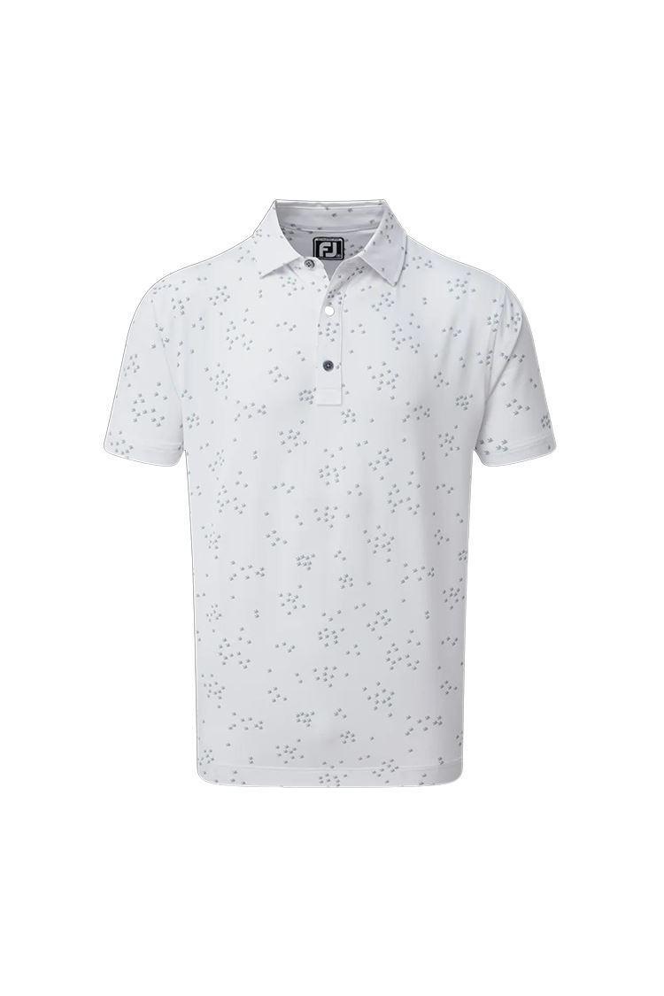 Picture of Footjoy Men's Lisle Flock of Bird Print Polo Shirt - White / Grey