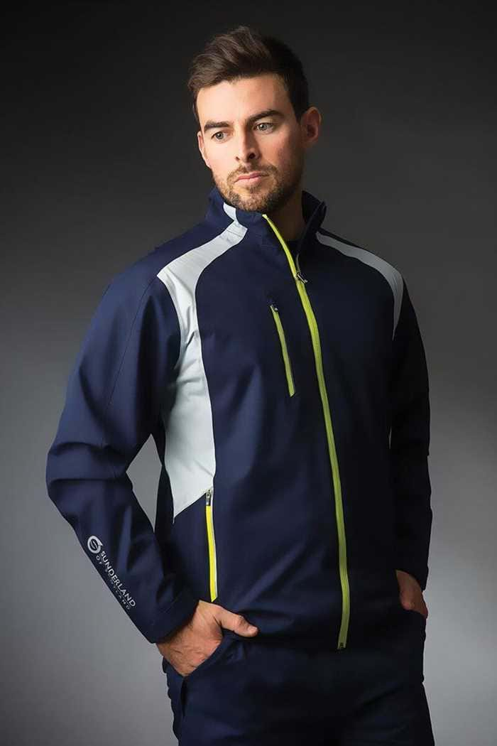 Picture of Sunderland of Scotland Valberg Waterproof Jacket - Navy / Silver / Citrus